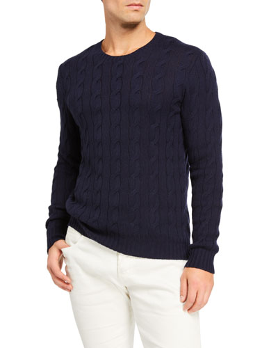Cashmere Cable-Knit Crewneck Sweater  Navy