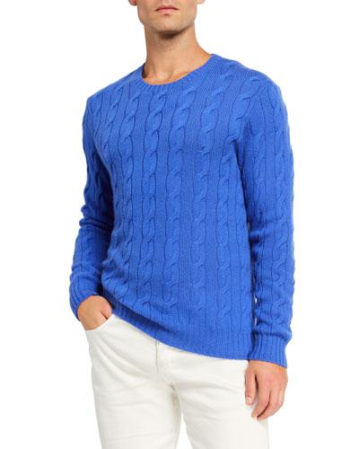 Cashmere Cable-Knit Crewneck Sweater  Blue