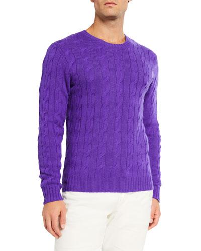 Men's Cashmere Cable-Knit Crewneck Sweater  Purple