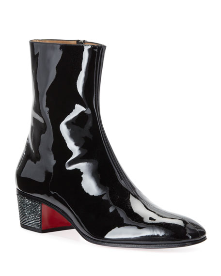 Men S Palace Crystal Patent Red Sole Boots