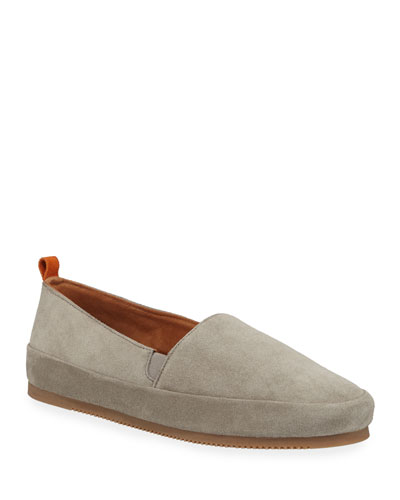 Men's Suede Slippers w/ Shearling Lining