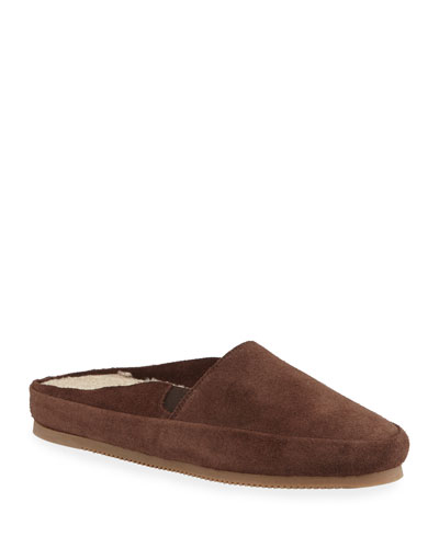 Men's Suede Mule Slippers w/ Shearling Lining