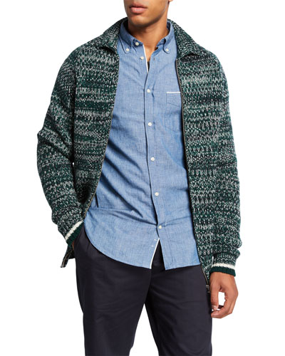 Men's Wool Melange Full-Zip Sweater