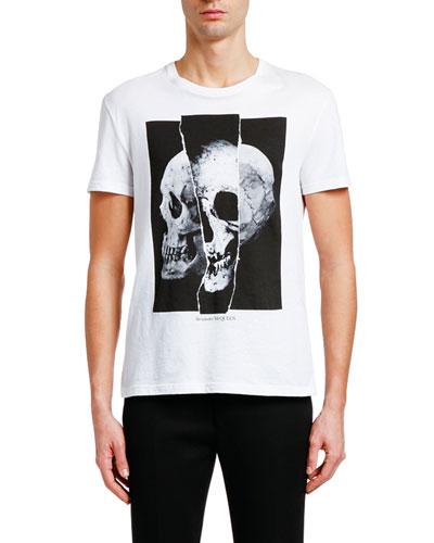 Men's Spliced Skull Graphic Cotton T-Shirt