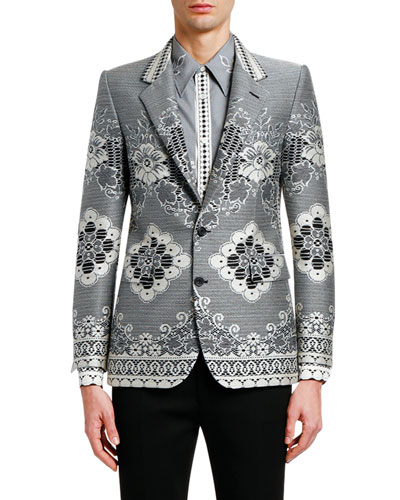 Men's Lace Jacquard Two-Button Jacket