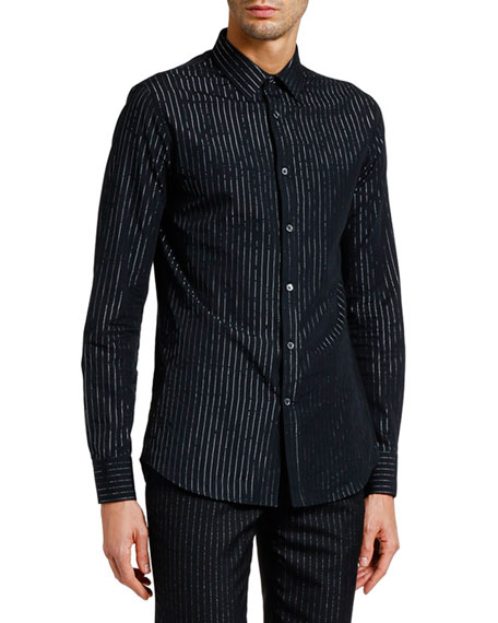 Alexander McQueen Men's Metallic Pinstriped Sport Shirt