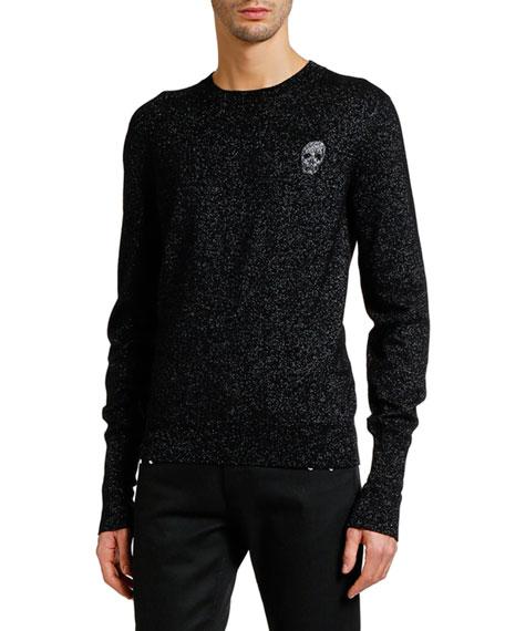 Alexander McQueen Men's Metallic Crewneck Sweater with Skull