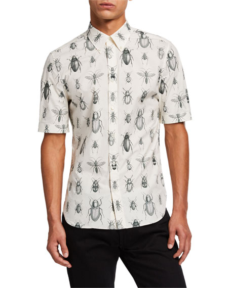 Men's Bug-Print Short-Sleeve Sport Shirt
