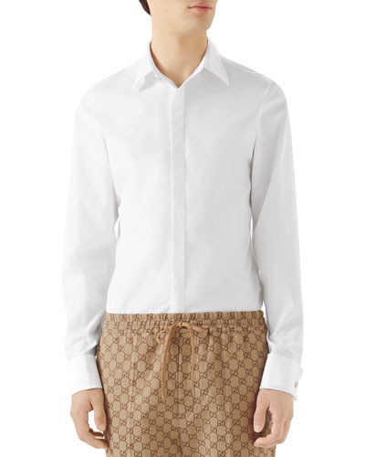 Men's Formal Satin-Bib Tuxedo Shirt