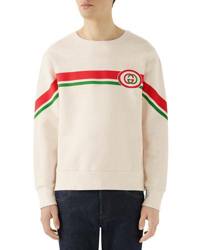 Men's Striped GG Logo Sweatshirt