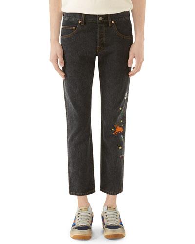 Men's Embroidered Washed Denim Jeans