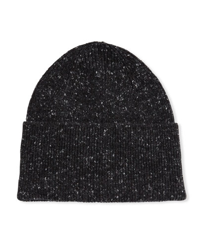 Men's Donegal Cashmere Rib-Knit Beanie
