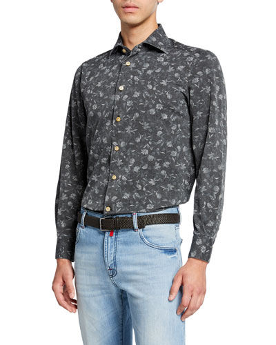 Men's Floral Chambray Dress Shirt