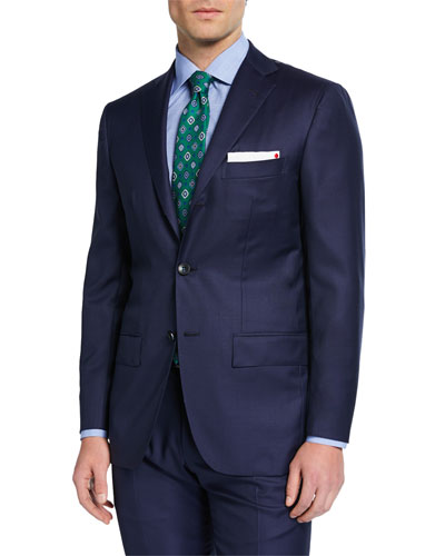 Men's Solid Sharkskin Wool Two-Piece Suit