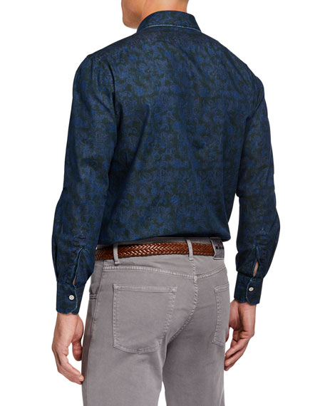 Men's Cotton Paisley-Print Sport Shirt