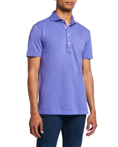 Men's Jersey Pocket Polo Shirt  Blue