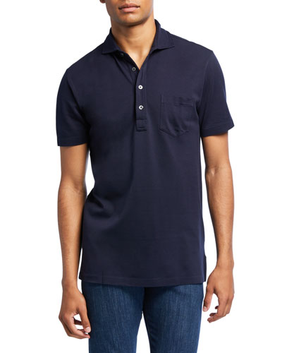 Men's Jersey Pocket Polo Shirt  Navy