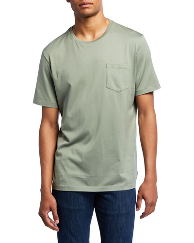Men's Washed Cotton Pocket T-Shirt  Green