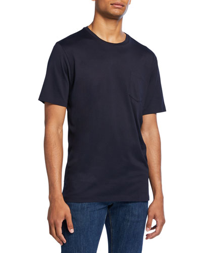 Men's Washed Cotton Pocket T-Shirt  Navy