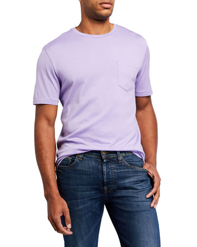Men's Washed Cotton Pocket T-Shirt  Lavender