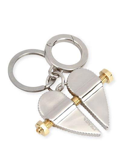 Men's Two-Tone Metal Bolt Heart Keychain