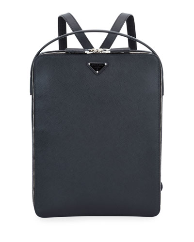 Men's Large Saffiano Leather Square Backpack