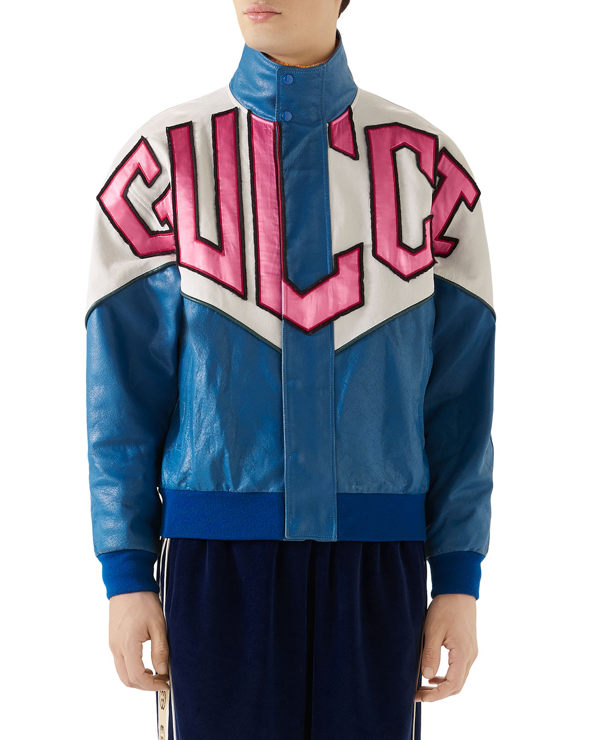 Gucci Jackets Men's Retro Logo Colorblock Leather Bomber Jacket