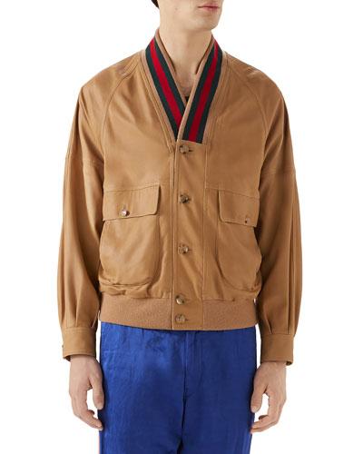 Men's Leather Cardigan Jacket w/ Signature Stripes