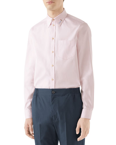 Men's Embroidered-Collar Cotton Sport Shirt