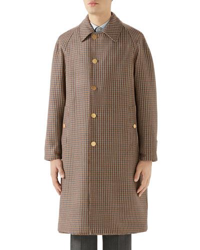 Men's Plaid Single-Breasted Reversible Overcoat