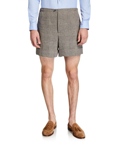 Men's Glen Plaid Linen Shorts