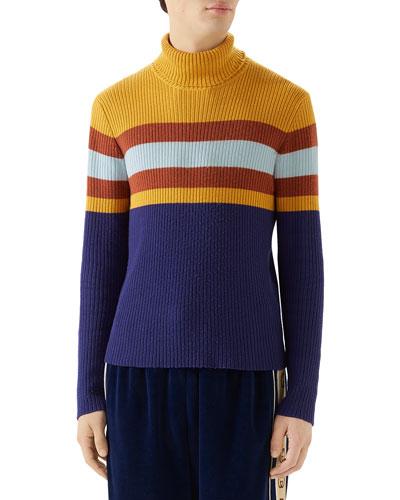 Men's Multi-Stripe Ribbed Turtleneck Sweater