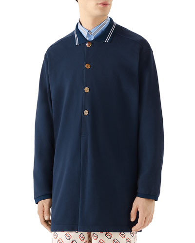 Men's Oversized Polo Shirt with Logo Buttons