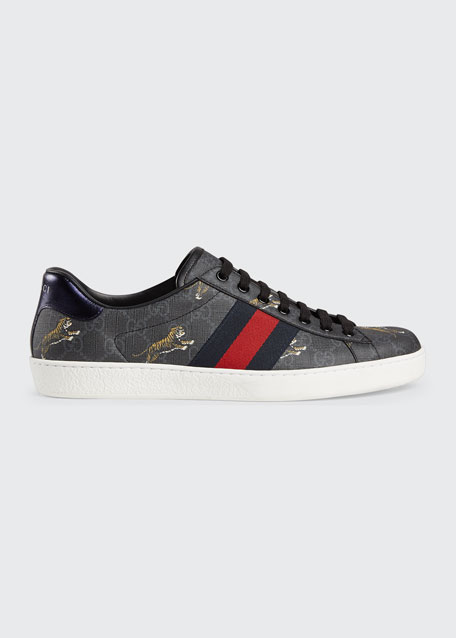Men's New Ace Low-Top Sneakers With Tigers Print