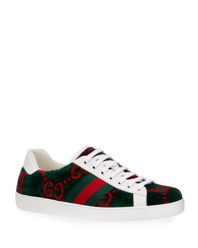 9ed0e1438b81c Men s New Ace Velour Low-Top Sneakers Quick Look. Gucci