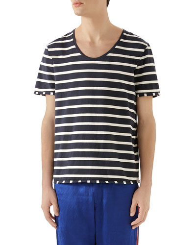 572366d5 Men's Striped Scoop-Neck T-Shirt Quick Look. Gucci