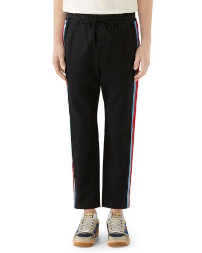 Men's Side-Stripe Cotton Twill Drawstring Pants
