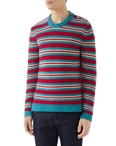 Men's Multi-Stripe Crewneck Sweater