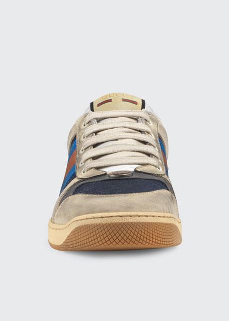Men's Screener Distressed Leather Web Sneakers