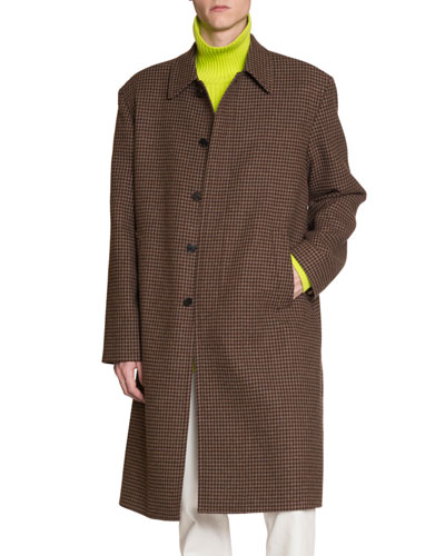 Men's Wool Houndstooth Soft-Shoulder Car Coat