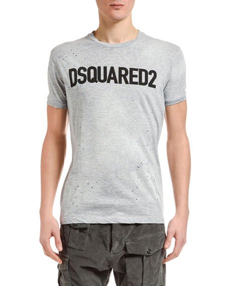 Dsquared2 Men's Paint-Splatter Logo Typographic T-Shirt