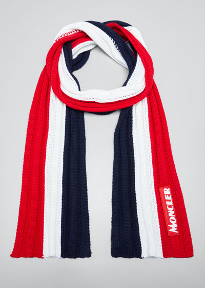 Men's Tricolor Chunky Wool Scarf