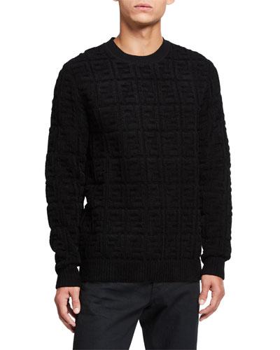 Men's Chenille Embossed FF Logo Crewneck Sweater