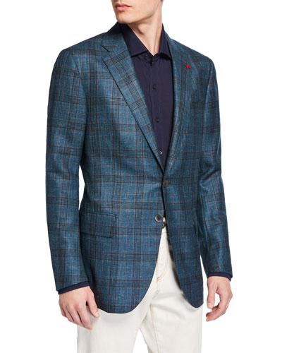Men's Plaid Wool-Blend Sport Coat