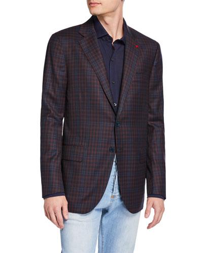 Men's Two-Tone Check Two-Button Jacket