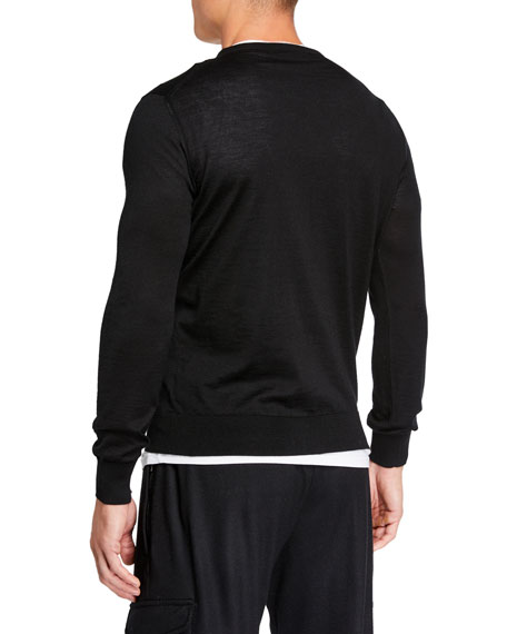 Men's Lightweight Cashmere/Silk Sweater, Black