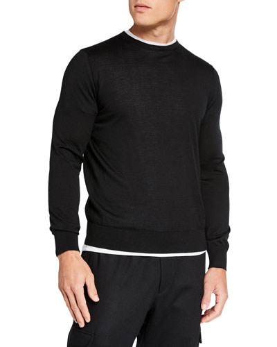 Men's Lightweight Cashmere/Silk Sweater  Black