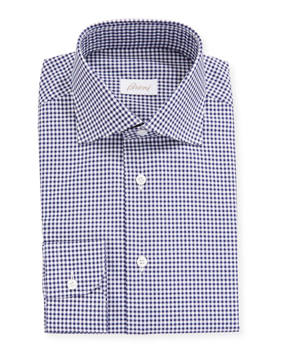73b203a8845 Men's Gingham Check Long-Sleeve Dress Shirt Quick Look. Brioni