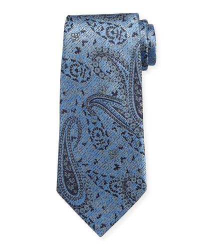 Woven Paisley Silk Tie  Blue