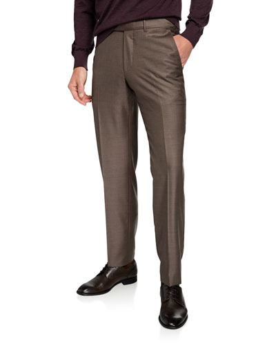 Men's Trofeo Wool Flat-Front Trousers